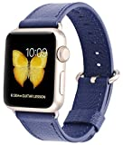 js watch company - JSGJMY Compatible for Iwatch Band 38mm 40mm Women Genuine Leather Replacement Strap Compatible for Series 4 3 2 1 Sport Edition,Midnight Blue+Gold Clasp