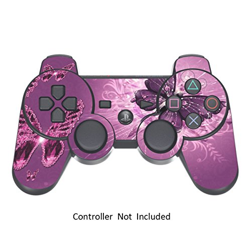 PS3 Controller Skin Stickers- Custom Sony Playstation 3 Remote Vinyl High Gloss Sticker - Play Station 3 Joystick Decal - Lavender Butterfies by GameXcel  [ Controller Not Included ]