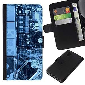 YiPhone /// Tirón de la caja Cartera de cuero con ranuras para tarjetas - Electrónica Pcb Hdd X Ray Pc - LG Nexus 5 D820 D821