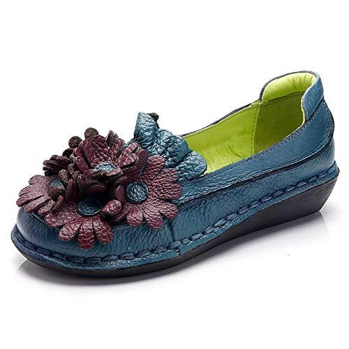 Taille Fleurs Cuir Bleu Trs Plates 38 Dcontractes Pour couleur Bleu Femme Chaussures Qiusa En Eu P4wYnSq