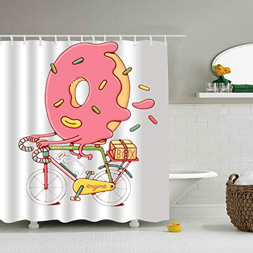 Qilrocm Donut Cyclist Print Bath Shower Curtain Waterproof