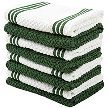 Sticky Toffee Cotton Terry Kitchen Dishcloth, Dark Green, 8 Pack, 12 in x 12 in