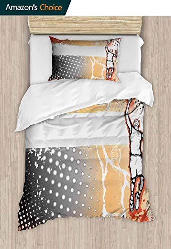 Basketball 2 Piece Quilt Coverlet Bedspread, Basketball Player in The Middle of Game Dotted Background Doodle Style Art, Bedding Set for Kids,Boys and Teens,39 W x 51 L Inches, Orange Black