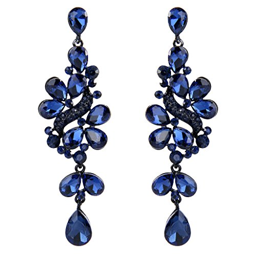 BriLove Women's Victorian Style Crystal Wedding Bridal Cluster Leaves Teardrop Dangle Earrings Sapphire Color (Long Cluster Earrings)