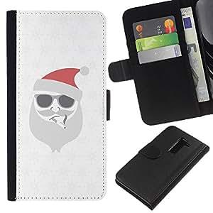 KingStore / Leather Etui en cuir / LG G2 D800 / Blanca Navidad Vacaciones de Invierno
