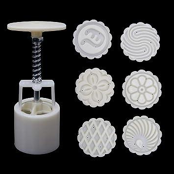 Yaonow 6 sellos de flores, molde de luna para tartas, bricolaje, molde redondo para pasteles, herramienta de decoración para hornear 63 g: Amazon.es: Hogar