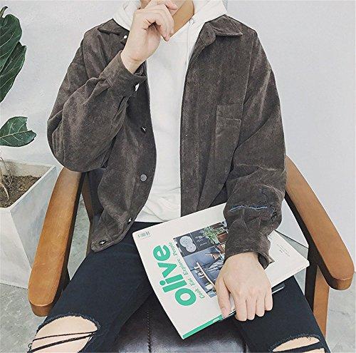 Haroty Lunga Outwear Invernali Uomo E Larghe Autunno Marrone Manica Cappotto Ricamati Giacca Scuro Casual Taglie Da Forti Giacche pWrUqpn