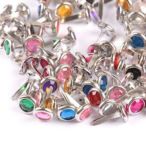 Garment Rivet - Mixed Rhinestone Studs and Spikes for Clothes Round Brads Scrapbooking Embellishment Fastener Brads 8.5X15mm 100Pcs CP1115 - (Color: 2)