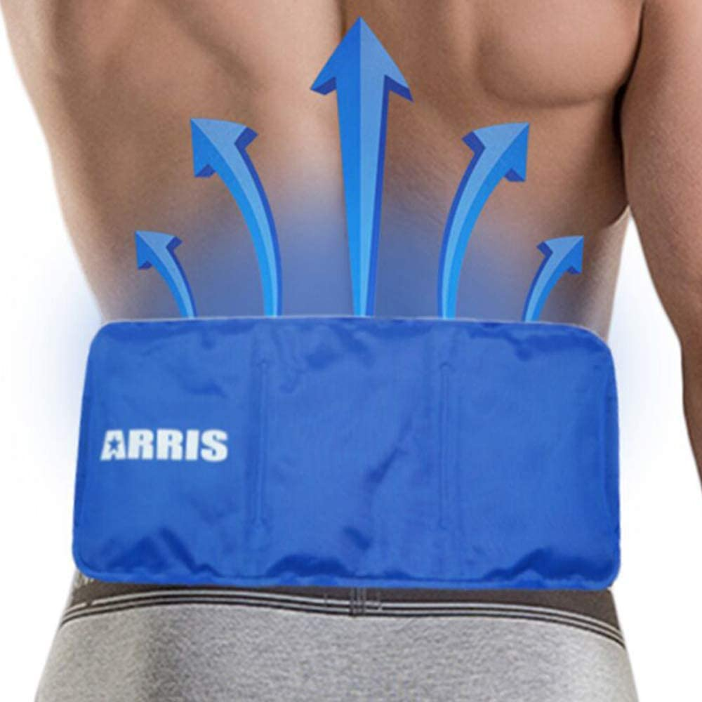 ARRIS Ice Pack for Lower Back Injuries Hot Cold Therapy Gel Ice Pack with Adjustable Strap for Pain Relief - Flexible Soft for Foot Knee Shoulder