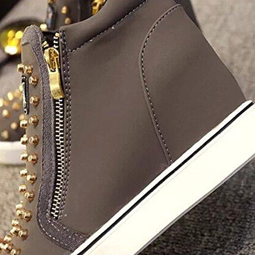 ANDAY cuero gris Zapatillas para Pisos deportivo PU de de con mujer remaches con Calzado lateral de cremallera casual de deporte qtwp4tv