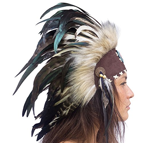 Unique Feather Headdress- Native American Indian Inspired- Handmade Halloween Costume for Men Women with Real Feathers - Natural with Beads (Balinese Hat)