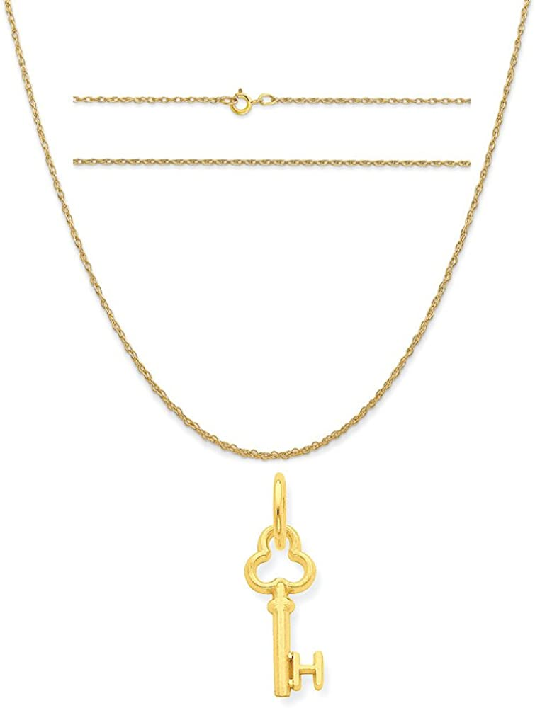 14k Yellow Gold H Key Charm on a 14K Yellow Gold Carded Rope Chain Necklace