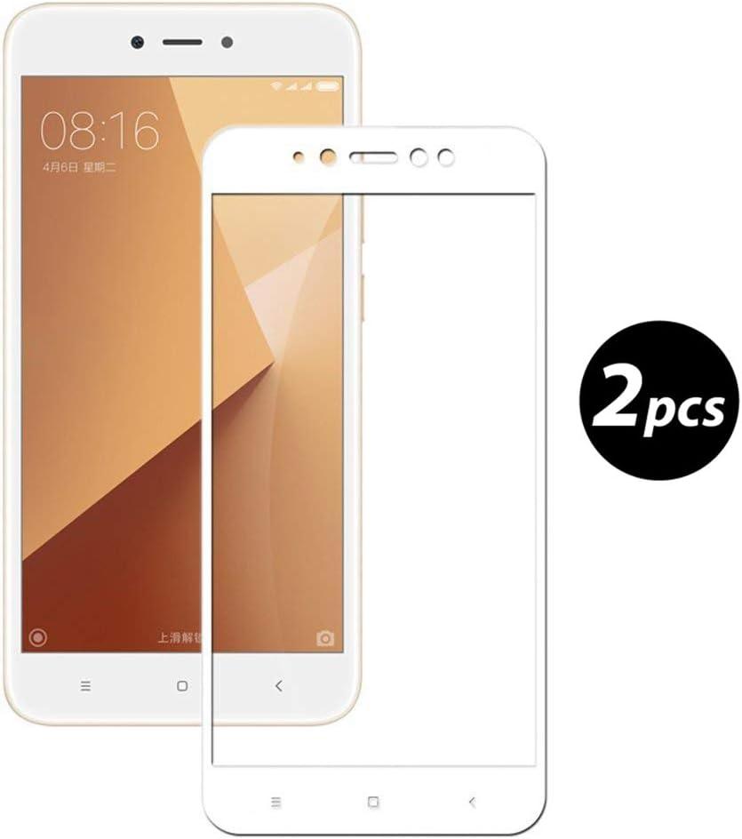 EUGO [2-Unidades] Xiaomi Redmi Note 5A Prime Protector de Pantalla, Alta Definicion No hay Burbujas Vidrio Templado HD Film Protector de Pantalla Screen Protector Cobertura Completa Blanco