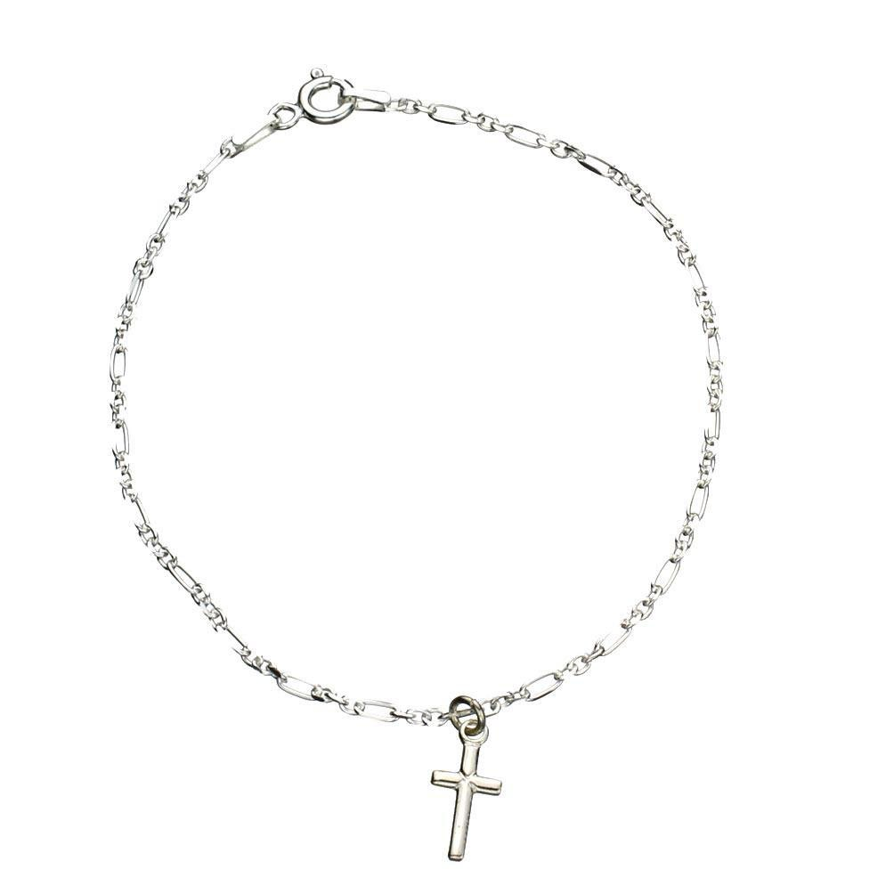 Sterling Silver Cross Charm Anklet Italy, 11''