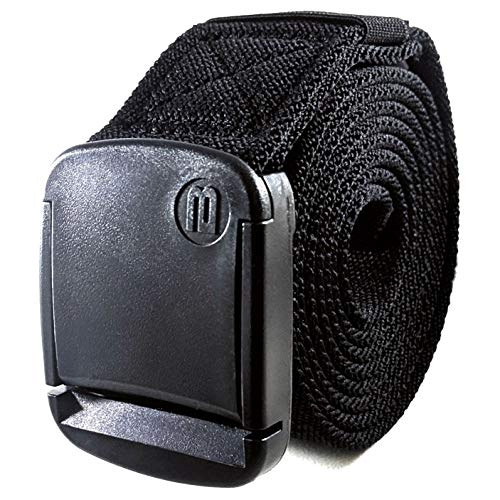 - BETTA 1.5 Inch Wide Men's Elastic Stretch Belt with Fully Adjustable High-Strength Buckle (Medium, Black)