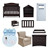 Serta Barrett 7-Piece Nursery Furniture Set with FREE Digital Monitor (ships separately) (Convertible Crib, Toddler Rail, Dresser, Changing Top, Bookcase, Crib Mattress, Glider), Dark Chocolate