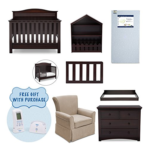 Serta Barrett 7-Piece Nursery Furniture Set with FREE Digital Monitor (Convertible Crib, Toddler Rail, Dresser, Changing Top, Bookcase, Crib Mattress, Glider), Dark Chocolate