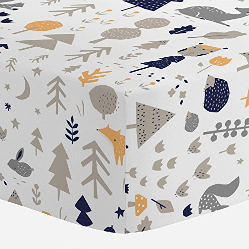 Carousel Designs Taupe and Windsor Navy Baby Woodland Crib Sheet - Organic 100% Cotton Fitted Crib Sheet - Made in the USA Baby Carousel