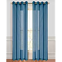 Dainty Home Malibu Linen Look Sheer Grommet Window Panel, 110 by 84-Inch, River Blue