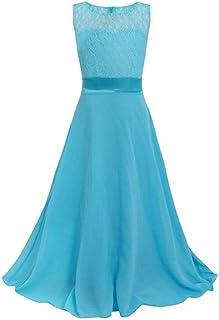 LSERVER-Vestido de Encaje de Gasa Sujetador para Las Niñas en Boda