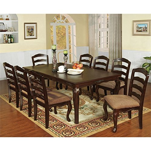 """Furniture of America Pienne 9 Piece Carved 78"""" Dining Set"""