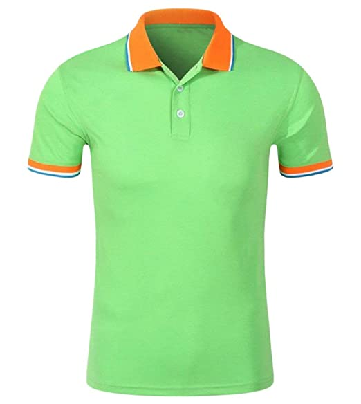f7a04912e Zimaes-Men Men's Zimaes Solid Colored Simple Henley Short Sleve Pique Polo  Shirt Light Green M One Size Multi: Amazon.in: Clothing & Accessories