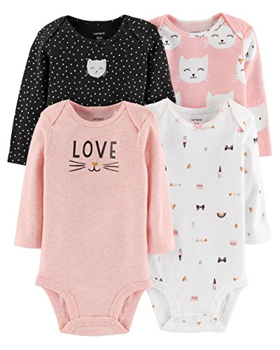 Carters Knit Set - Carter's Baby Girls 4 Pack Bodysuit Set, Kitty Love, 24 Months