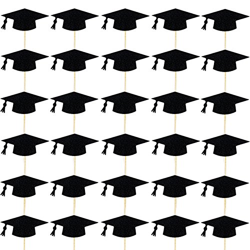 Teemico 30 Pieces Black Graduation Cap Cupcake Cake Toppers for Themed Party Decorations (Black (Graduation Brunch Ideas)