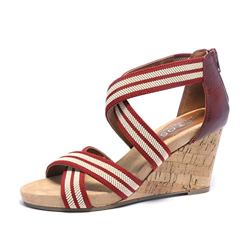 TOETOS Women's Solsoft_15 Beige Low Platform Wedges Back Zipper Sandals Size 9.5 B(M) US