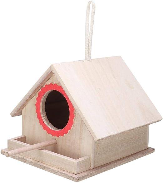 Pokerty Casa de alimentación de pájaros de Madera, Caja de Nido de pájaros Duradera Colgante de Madera Caja de alimentación de cacatúas Casa de pájaros Suministros de observación de Estudiantes: Amazon.es: Jardín