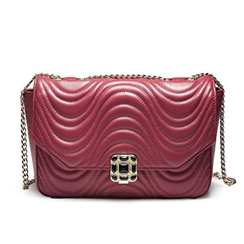 Teemzone Damen Umhängetasche Schultertasche Tagestasche Handtasche Leder Rot&Schwarz Frauen Vorhang (Rot)