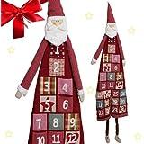 Adventskalender zum Befüllen XXL ca. 180 cm wunderschöner Weihnachtsmann Nikolaus aus Plüsch und Textil mit großen Stofftaschen