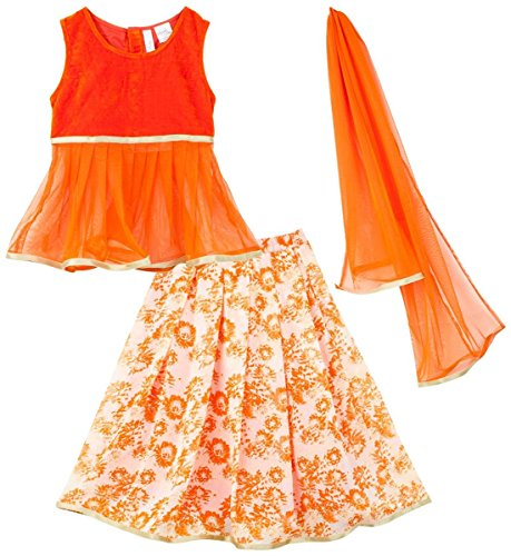 lil'posh Ghaghra Choli with Dupatta - Orange/Ecru (6-7Y)