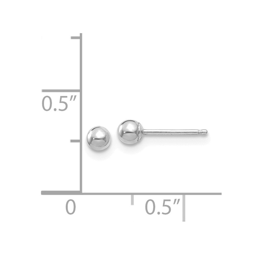 14k White Gold 3mm Ball Post Stud Earrings Button Fine Jewelry Gifts For Women For Her