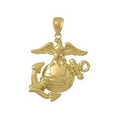Amazon 14k yellow gold usmc charm pendant large marine corps 14k yellow gold usmc charm pendant large marine corps symbol 2d eagle globe aloadofball Choice Image