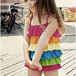 Pink Black Kids Baby Toddler Girls Swimwear Bikini Swimsuit Skirt Bather Hat 4 Piece 6t