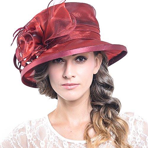 Women Church Kentucky Derby Bucket Dress Flower Hat (Claret)