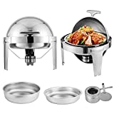 Happybuy 2 Packs Stainless Steel Chafing Dish 6 Quart Round Chafer Roll Top Chafer for Catering Buffet Warmer Set with Pans and Fuel Holders (2 Packs Stainless Steel Chafing Dish)