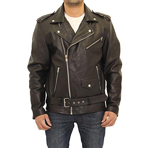 Dotata Classica Pelle In Nero Stile Giacca Brando Motociclista Uomo xpSdwqYq