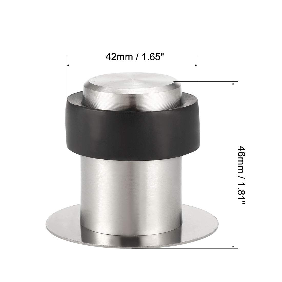 uxcell Stainless Steel Door Stopper Cylindrical Floor Mount Brushed Double-Sided Adhesive Sheets No Need to Drill 46mm Height 2Pcs