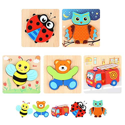 Bee Tree Wooden Jigsaw Puzzles Baby Boys Girls Educational Toys 3D Preschool Game Tool Animals & Vehicle for Toddlers 1 2 3 4 5 Years -