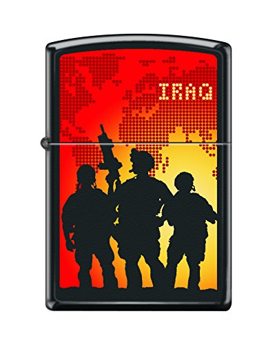 Zippo Custom Design Military Soldiers Iraq Reg Blk Matte Windproof Collectible Lighter. Made in USA Limited Edition & Rare (Zippo Army Stamp)