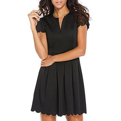 Jintime Vestido de mujer de encaje de color liso y corte lateral, vestido de fiesta de graduación, vestido de fiesta de graduación, mini vestido de patinaje ...