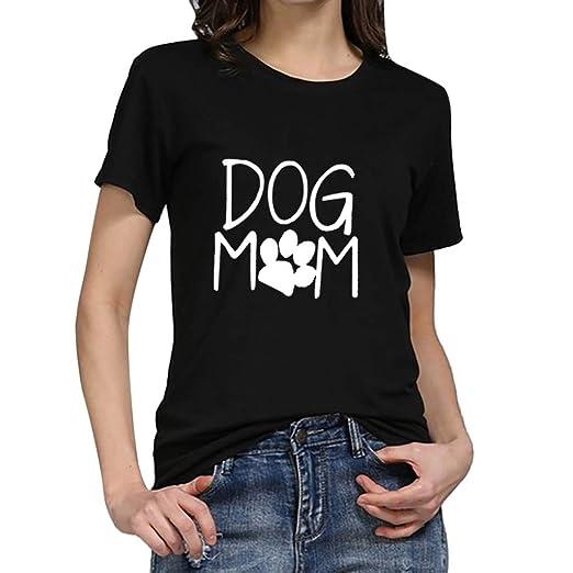 8bfeb8bc8c0722 Triskye Womens Casual T-Shirt Short Sleeve Loose Dog Mom Print Sweatshirt Tops  Blouse T