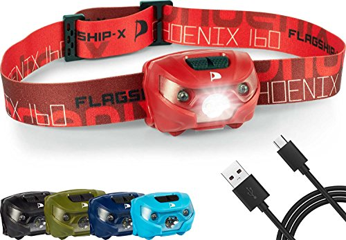 Flagship-X Phoenix Rechargeable Waterproof LED Camping Headlamp Flashlight for Running - Red