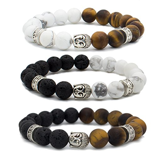 Bivei Natural Lava Stone/White Turquoise/Tiger Eye Stone Essential Oil Diffuser Bracelet - Silver Buddha Head Buddhist Prayer Beads Mala Meditation Protection Healing Jewelry?Setof 3