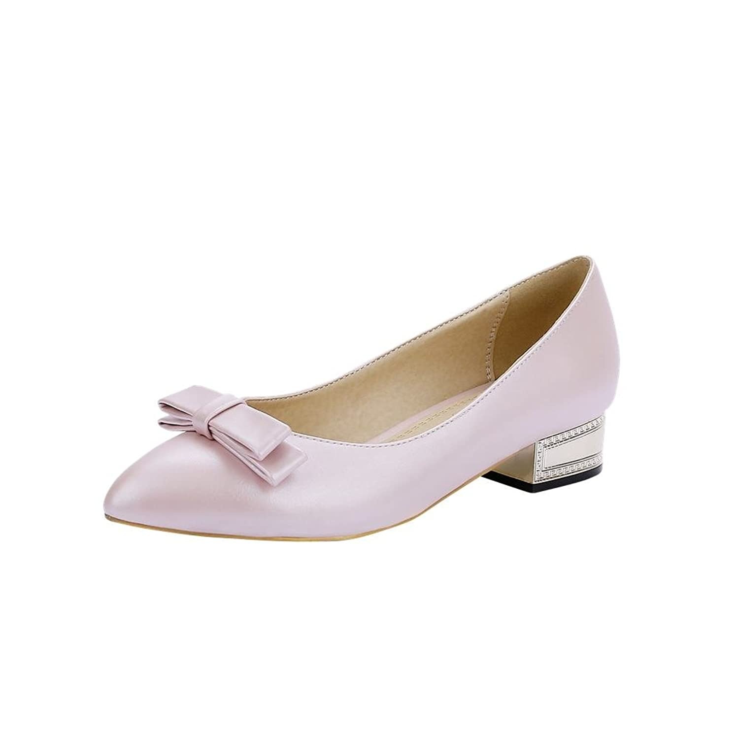 Carolbar Women'S Bows Elegance Sweet Chic Party Pointed-Toe Bridal Low Heel Dress Loafers Shoes