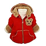 kids Clothes Jacket - SODIAL(R)Baby Girls Boys kids Clothes Jacket Winter Warm Coat Toddlers Hoodies Coat Red 1-2Years
