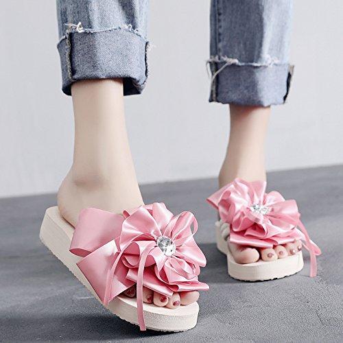 KPHY-La Moda La Gran Flor Pendiente De Raiz Cool Slipper Lady Verano Zapatos De Playa Vacaciones Playa Zapatillas Pink