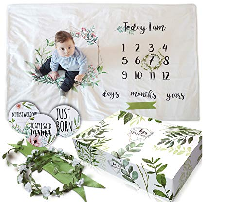 Beautiful Baby Monthly Milestone Blanket - Memory Catching Photo Prop Shower Gift for Girl and Boy